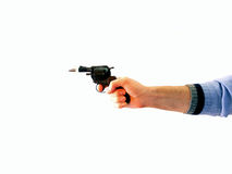 Gun shooting. Male hand with gun shooting: visible gullet, isolated on white Stock Images