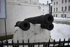 Gun for shooting cores. Cannons of the XVII-XVIII centuries. The Cannon is the longest of all the guns, not the chambers, and designed for shooting primarily Stock Photography