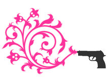 Gun shooting floral ornament Stock Photography