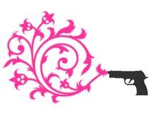 Gun shooting floral ornament Stock Photography