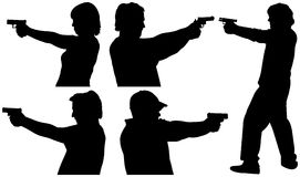 Gun Shooting Silhouettes. Five Male and Female Gun Shooting Silhouettes Stock Images