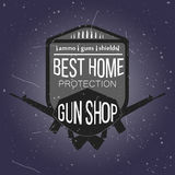 Gun shop logotypes and badges  set Royalty Free Stock Image