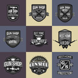 Gun shop logotypes and badges vector set Royalty Free Stock Photo