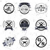 Gun shop logotypes and badges vector set Royalty Free Stock Photos