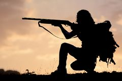 Gun shot position concept;shoot royalty free stock photography