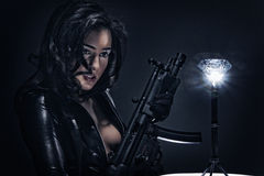 Gun Shots - Diamond Heist. Portrait of female diamond bugler - fantasy scenario stock photo