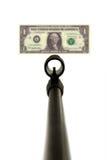 Gun sight and dollar bill Stock Image