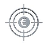 Gun sight with euro symbol Stock Images