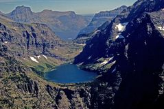 Gun Sight Pass in Glacier Park. Aerial view of Gun Sight Pass in Glacier national Park Stock Images