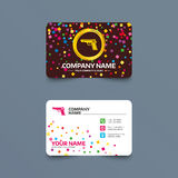 Gun sign icon. Firearms weapon symbol. Business card template with confetti pieces. Gun sign icon. Firearms weapon symbol. Phone, web and location icons Stock Image