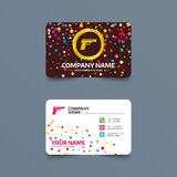 Gun sign icon. Firearms weapon symbol. Business card template with confetti pieces. Gun sign icon. Firearms weapon symbol. Phone, web and location icons Royalty Free Stock Image