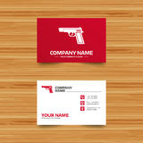 Gun sign icon. Firearms weapon symbol. Business card template. Gun sign icon. Firearms weapon symbol. Phone, globe and pointer icons. Visiting card design Stock Photo