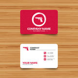 Gun sign icon. Firearms weapon symbol. Business card template with texture. Gun sign icon. Firearms weapon symbol. Phone, web and location icons. Visiting card Stock Image