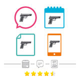 Gun sign icon. Firearms weapon symbol. Calendar, chat speech bubble and report linear icons. Star vote ranking. Vector Stock Image