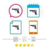Gun sign icon. Firearms weapon symbol. Calendar, chat speech bubble and report linear icons. Star vote ranking. Vector Stock Photo
