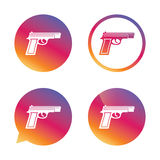 Gun sign icon. Firearms weapon symbol. Gradient buttons with flat icon. Speech bubble sign. Vector Royalty Free Stock Image