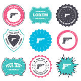 Gun sign icon. Firearms weapon symbol. Label and badge templates. Gun sign icon. Firearms weapon symbol. Retro style banners, emblems. Vector Stock Photography