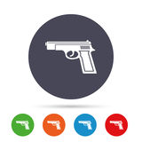 Gun sign icon. Firearms weapon symbol. Round colourful buttons with flat icons. Vector Royalty Free Stock Photo