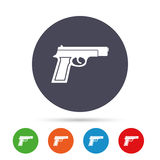 Gun sign icon. Firearms weapon symbol. Round colourful buttons with flat icons. Vector Royalty Free Stock Photos