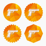 Gun sign icon. Firearms weapon symbol. Triangular low poly buttons with flat icon. Vector Royalty Free Stock Photography