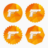 Gun sign icon. Firearms weapon symbol. Triangular low poly buttons with flat icon. Vector Stock Images