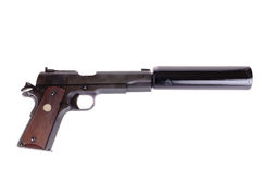 Gun with silencer Stock Photo
