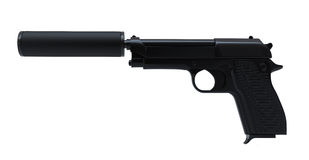 Gun with silencer Royalty Free Stock Image