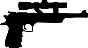 Gun silhouette. Black hand gun silhouette, isolated. Vector illustration Stock Images