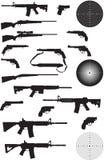 Gun Silhouette Collection. On white background Stock Photos