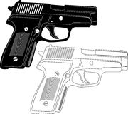 Gun Silhouette. Illustration of Gun and weapon silhouette in a white background Stock Images
