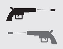 Gun Silhouette Shooting. Gun shooting in black and gray silhouette Stock Photos