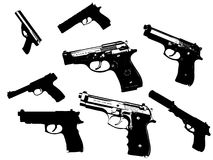Gun silhouettes. On white background Stock Photo