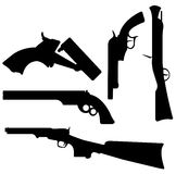 Gun Silhouettes. This is a vector illustration of some gun silhouettes Royalty Free Stock Photos