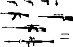 Gun silhouettes set. Silhouettes of pistol, revolver, grenade, automatic weapons, rifles and knifes Stock Photos