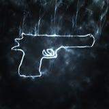 Gun in the smoke. Illustration of semi automatic gun in the smoke Stock Photo