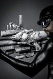 Gun.Starfighter med det enorma plasmageväret, fantasibegrepp som är militar Arkivbilder