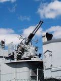 Gun Station On World War II Era Battleship Stock Photography