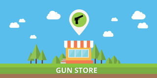 Gun store shop buy pistols icon vector stock isolated Stock Photo