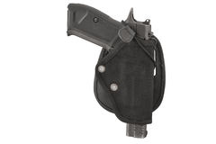 The gun in a tactical leather holster. Isolated.  Royalty Free Stock Photos