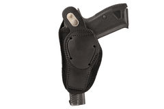 The gun in a tactical leather holster. Isolated.  Royalty Free Stock Images