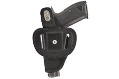 The gun in a tactical leather holster. Isolated.  Royalty Free Stock Image