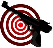 Gun with target. Illustration representing an isolated black gun with target Stock Photography