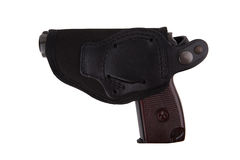 Gun in textile holster isolated on white background Stock Photos