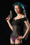 Gun toting gal Royalty Free Stock Images