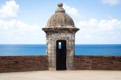 Gun Tower at San Juan, Puerto Rico. Simetric shot of a gun tower located on The fort San Felipe del Morro at San Juan, Puerto Rico Royalty Free Stock Image