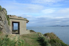 Gun Turret. A view of the ruins of an old military turret on Inchcolm island royalty free stock photo