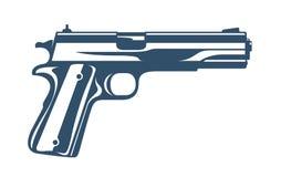 Gun vector illustration, detailed handgun isolated on white. Background stock illustration
