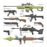 Gun vector military weapon or army handgun and war automatic firearm or rifle with bullet illustration set of shotgun or. Revolver isolated on white background royalty free illustration