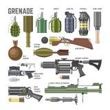 Gun vector military weapon grenade-gun army handgun and war automatic firearm or rifle with bullet illustration set of. Stun shotgun or grenade launcher stock illustration