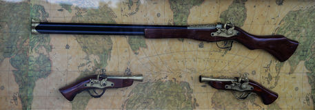 Gun on vintage map Stock Photos